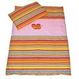 Baby's Comfort Baby Bedding Set Duvet Cover and Pillowcase (2-Piece, Orange Strips/Pink)