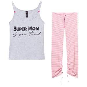 You! Lingerie Girls Maternity Clothes Sleepwear Grey Darcy Super Mom Super Tired Pajama Set Gray/Pink