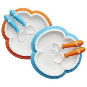 Babybjörn Unisex Norway Assort Tableware Blue Baby Plate, Spoon & Fork 2 Sets Orange/Turquoise