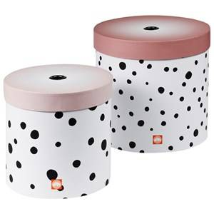 Done by Deer Unisex Storage Pink Happy Dots Round Box Set 2 Pieces Powder