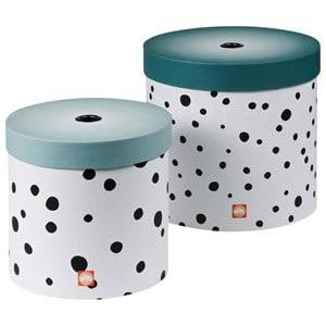 Done by Deer Unisex Storage Blue Happy Dots Round Box Set 2 Pieces Blue