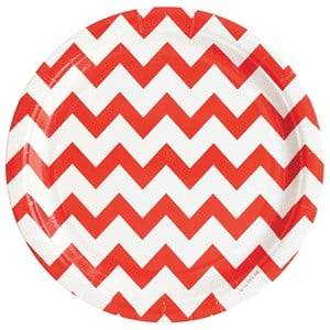 My Little Day Unisex Tableware Red 8 Paper Plates - Red Chevrons