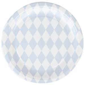 My Little Day Unisex Tableware Blue 8 Paper Plates - Light Blue Diamonds