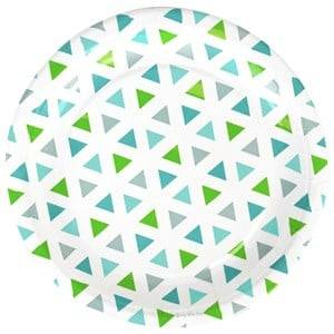 My Little Day Unisex Tableware Green 8 Paper Plates - Green Triangles