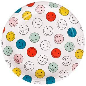 My Little Day Unisex Tableware Multi 8 Paper Plates - Smiley