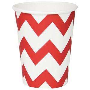 My Little Day Unisex Tableware Red 8 Paper Cups - Red Chevrons