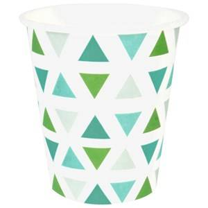 My Little Day Unisex Tableware Green 8 Paper Cups - Green Triangles