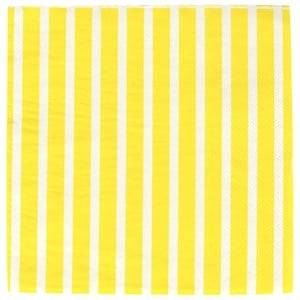 My Little Day Unisex Tableware Yellow 20 Paper Napkins - Yellow Stripes