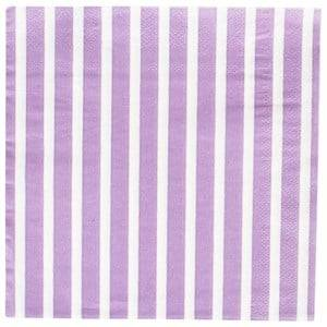 My Little Day Unisex Tableware Multi 20 Paper Napkins - Lilac Stripes