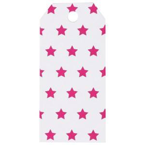 My Little Day Unisex Tableware Pink 12 Gift Tags - Bright Pink Stars