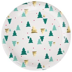 My Little Day Unisex Tableware Green 8 Paper Plates - Christmas Trees
