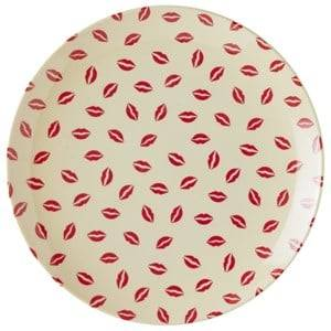 RICE A/S Unisex Tableware White Melamine Dessert Plate with Kiss Print