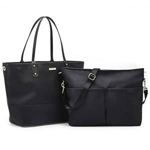 Skip Hop Unisex Baby Gear Changing and travel bags Black Duet 2-In-1 Diaper Tote Black
