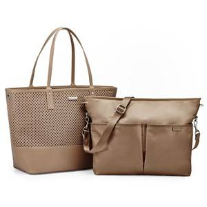 Skip Hop Unisex Baby Gear Changing and travel bags Beige Duet 2-In-1 Diaper Tote Taupe