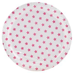 My Little Day Unisex Tableware Pink 8 Paper Plates - Bright Pink Stars