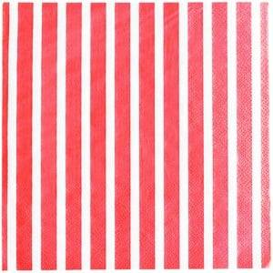 My Little Day Unisex Tableware Red 20 Paper Napkins - Red Stripes