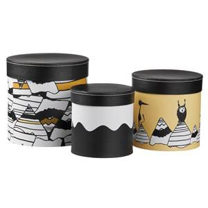 Kids Concept Unisex Storage Black Neo - Set of 3 Round Storage Boxes