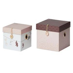 Done by Deer Girls Norway Assort Storage Pink Small Square Box Set 2 Pieces Powder