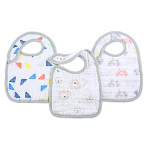 Aden + Anais Unisex Baby feeding White 3 Pack Classic Leader Of The Pack Snap Bibs