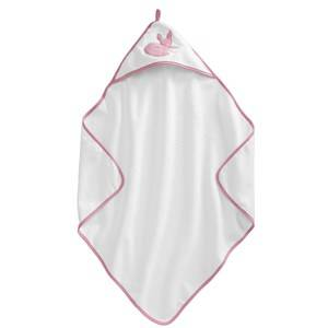 Kids Concept Unisex Textile White Edvin Fox - Pink Hooded Baby Bath Towel
