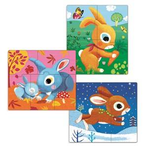 Djeco Unisex Puzzles and games Grey Rabbit Puzzle - 3 Pack