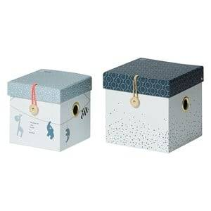 Done by Deer Boys Norway Assort Storage Blue Small Square Box Set 2 Pieces Blue