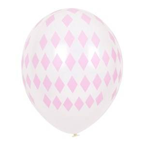 My Little Day Unisex Tableware Pink 5 Printed Balloons - Light Pink Diamonds