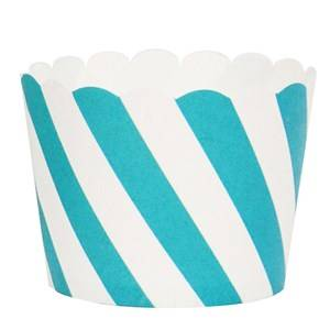 My Little Day Unisex Tableware Blue 25 Baking Cups - Blue Diagonals