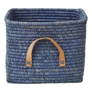Rice Unisex Storage Blue Small Square Raffia Basket Leather Handles Blue