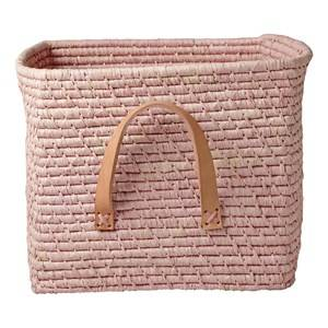 RICE A/S Unisex Storage Pink Small Square Raffia Basket Leather Handles Soft Pink