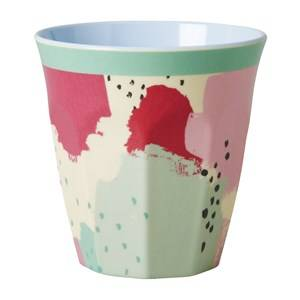 Rice Unisex Tableware Multi Melamine Medium Cup Two Tone with Splash Print