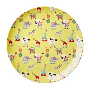 RICE A/S Boys Norway Assort Tableware Yellow Melamine Lunch Plate Yellow Circus Print