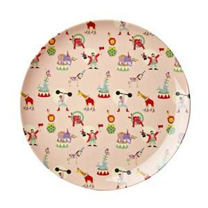 RICE A/S Boys Norway Assort Tableware Pink Melamine Lunch Plate Soft Pink Circus Print