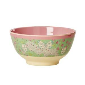 RICE A/S Unisex Norway Assort Tableware Green Melamine Bowl Butterfly Print