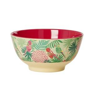 RICE A/S Unisex Norway Assort Tableware Green Melamine Bowl Tropical Print