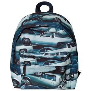Molo Unisex Bags Blue Backpack Stacked Cars