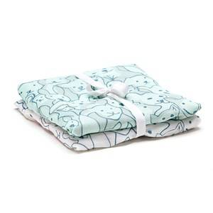 Kids Concept Boys Textile Green 2-Pack Muslin Blanket Edvin Green/Whiteit