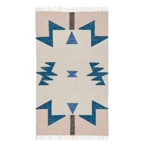 ferm LIVING Unisex Textile Blue Kelim Rug Blue Triangles Small