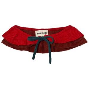 Bobo Choses Girls Collars Red Ruffles Knitted Collar Dusty Cedar