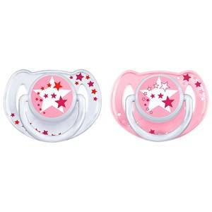 Philips Avent Unisex Baby feeding Beige Night-Time Soother 6-18M 2 Pack Pink