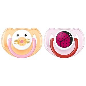 Philips Avent Unisex Baby feeding Purple Animal Soother 6-18M 2 Pack Pink