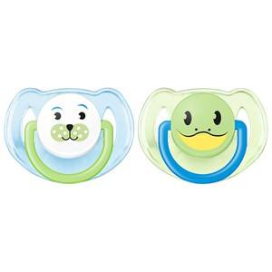 Philips Avent Unisex Baby feeding Blue Animal Soother 6-18M 2 Pack Blue