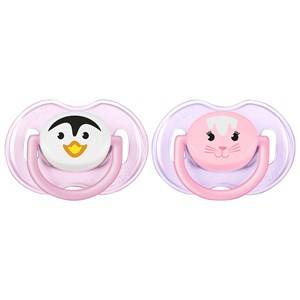 Philips Avent Unisex Baby feeding Pink Animal Soother 0-6M 2 Pack Pink