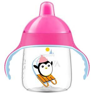 Philips Avent Unisex Baby feeding Pink Penguin Spout Cup 260 ml (9 oz) Pink