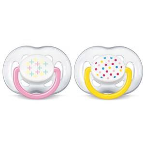 Philips Avent Unisex Baby feeding Pink Freeflow Soother 6-18M 2 Pack Pink