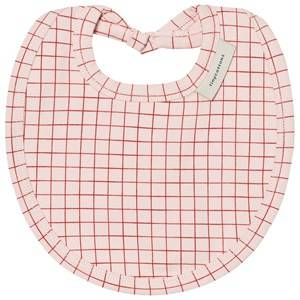 Tinycottons Unisex Baby feeding Pink Grid Bib Pale Pink/Red
