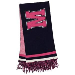 MSGM Girls Scarves Navy Navy and Pink Logo Scarf