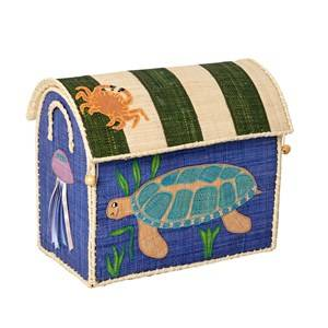 RICE A/S Unisex Norway Assort Storage Blue Small Turtle Toy Basket
