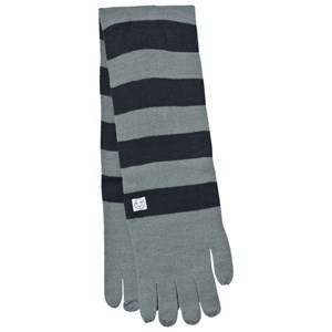 Indikidual Unisex Scarves Grey Grey Navy Striped Gloves Scarf