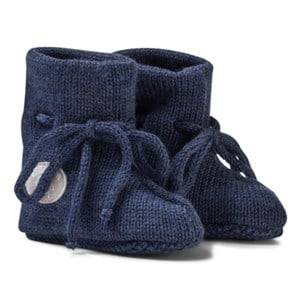 Lillelam Unisex Slippers Blue Merino Wool Baby Slippers Basic Blue